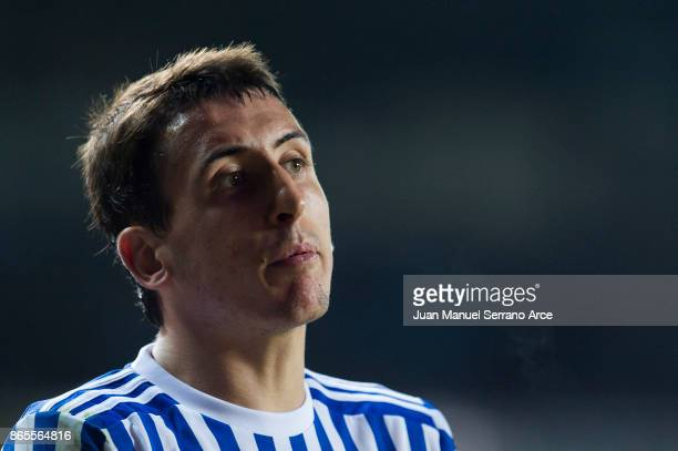 Mikel Oyarzabal of Real Sociedad reacts during the La Liga match between Real Sociedad de Futbol and RCD Espanyol at Estadio Anoeta on October 23...
