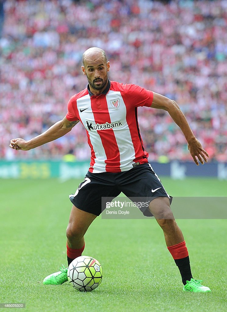 Mikel Rico of Athletic Club in action during the La Liga match between Athletic Club and FC Barcelona at San Mames Stadium on August 23 2015 in...