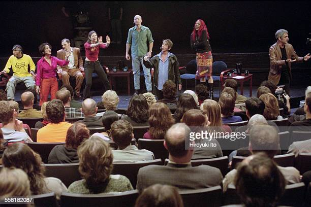 Mikel Rouse's ''Dennis Cleveland'' a multimedia talk show opera at the John Jay College Theater on April 30 2002This imageFrom left Eric Smith Napua...