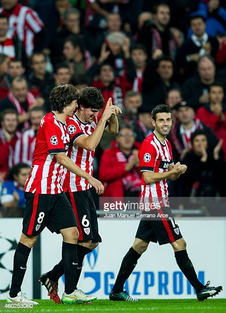 Mikel San Jose of Athletic Club celebrates after scoring during the UEFA Champions League Group H match between Athletic Club and ÊFC BATE Borisov at...