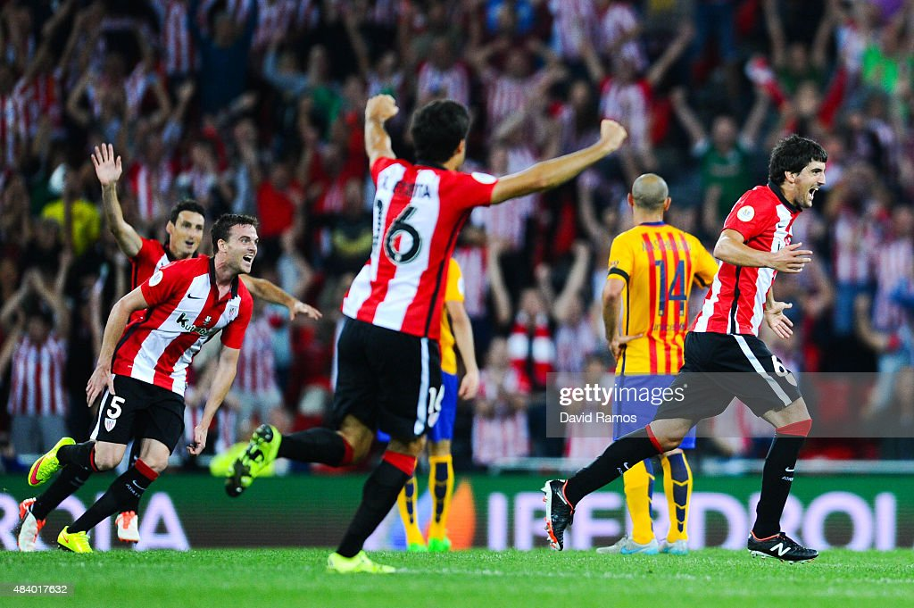 Mikel San Jose of Athletic Club celebrates after scoring the opening goalduring the Spanish Super Cup first leg match between FC Barcelona and...