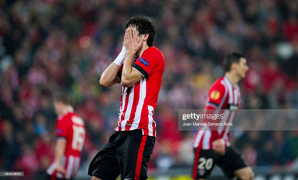 <a gi-track='captionPersonalityLinkClicked' href=/galleries/search?phrase=Mikel+San+Jose&family=editorial&specificpeople=5973705 ng-click='$event.stopPropagation()'>Mikel San Jose</a> of Athletic Club reacts during the UEFA Europa League Round of 32 match between Athletic Club and Torino FC at San Mames Stadium on February 26, 2015 in Bilbao, Spain.