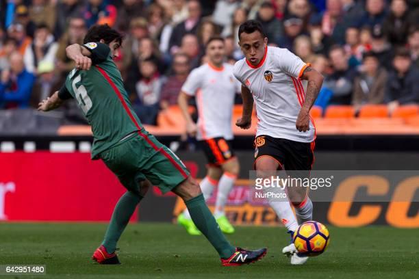 06 Mikel San Jose of Athletic de Bilbao and 15 Fabian Orellana of Valencia CF during the Spanish La Liga Santander soccer match between Valencia CF...