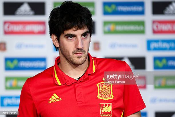 Mikel San Jose of Spain faces the media during a press conference on June 11 2016 in La Rochelle France