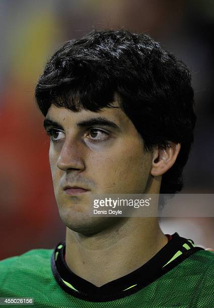 Mikel San Jose of Spain looks on prior to the start of the UEFA EURO 2016 Group C Qualifier between Spain and FYR of Macedonia at Estadio Ciutat de...