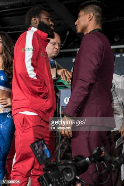 Mikey Garcia and Adrien Broner faceoff during the Adrien Broner vs Mikey Garcia Final Press Conference at the Dream Hotel July 27 2017 in New York...