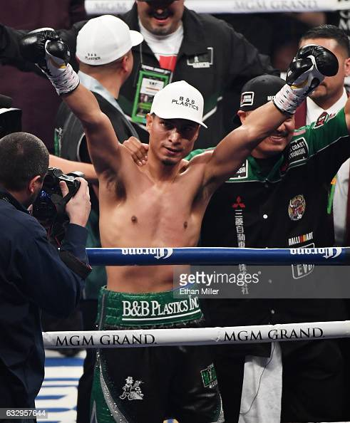 Mikey Garcia celebrates after knocking out Dejan Zlaticanin in the third round of their WBC lightweight title fight at MGM Grand Garden Arena on...