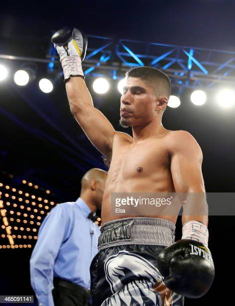 Mikey Garcia celebrates his win over Juan Carlos Burgos during the WBO Junior Lightweight title match at Madison Square Garden on January 25 2014 in...