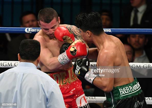 Mikey Garcia knocks out Dejan Zlaticanin with a right in the third round of their WBC lightweight title fight at MGM Grand Garden Arena on January 28...