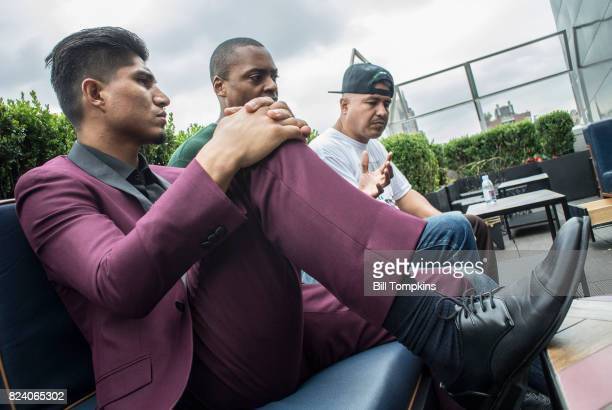 Mikey Garcia speaks to the press during the Adrien Broner vs Mikey Garcia Final Press Conference at the Dream Hotel July 27 2017 in New York City
