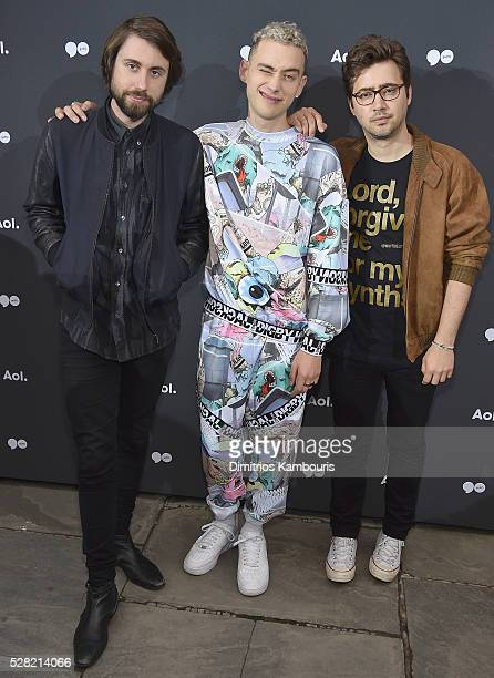 Mikey Goldsworthy Olly Alexander and Emre Turkmen of Years and Years attend the AOL NewFront 2016 at Seaport District NYC on May 3 2016 in New York...