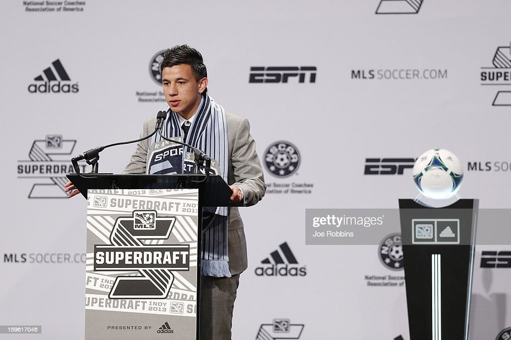 Mikey Lopez of North Carolina speaks to the crowd after being selected by Sporting Kansas City as the 14th overall pick in the 2013 MLS SuperDraft Presented by Adidas at the Indiana Convention Center on January 17, 2013 in Indianapolis, Indiana.