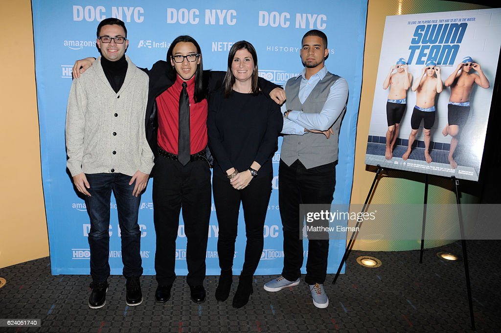 Mikey McQuay Jr., Kelvin Truong, Lara Stolman and Robbie Justino attend the New York premiere of 'Swim Team' at DOC NYC on November 17, 2016 in New York City.