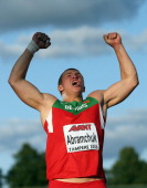 Mikhail Abramchuk of Belarus celebrates a good throw in the Final of the Men's Shot Put during day one of The European Athletics U23 Championships...