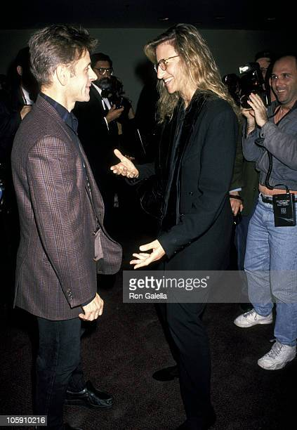 Mikhail Baryshnikov and Annie Leibovitz during A Demand Performance Benefit for DIFFA October 18 1993 at New York State Theater at Lincoln Center in...