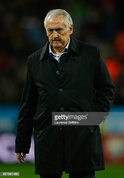 Mikhail Fomenko of Ukraine looks on during the UEFA EURO 2016 qualifier playoff second leg match between Slovenia and Ukraine at Ljudski Vrt Stadium...