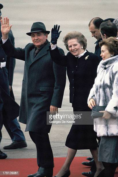 Mikhail Gorbachev and former British Prime Minister Margaret Thatcher wave as Russian leader departs form Heathrow Airport at the end of a meeting...
