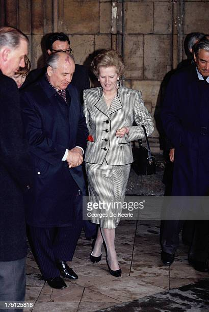 Mikhail Gorbachev and Margaret Thatcher at St Paul's Cathedral during an official visit of the Russian leader to London on April 6 1989 in London...
