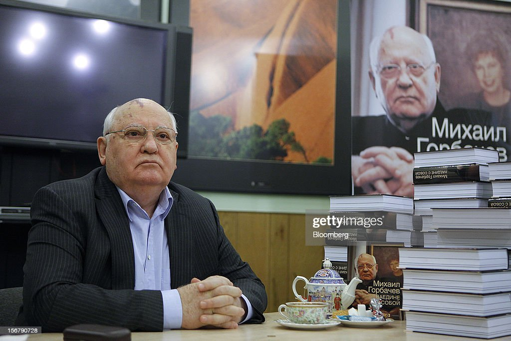 <a gi-track='captionPersonalityLinkClicked' href=/galleries/search?phrase=Mikhail+Gorbachev&family=editorial&specificpeople=93773 ng-click='$event.stopPropagation()'>Mikhail Gorbachev</a>, former Soviet leader, pauses during a book signing event at the Novaya Gazeta newspaper office in Moscow, Russia, on Wednesday, Nov. 21, 2012. The book, titled 'Alone With Myself,' chronicles Gorbachev's life from his childhood to the 1991 demise of the Soviet Union. Photographer: Alexander Zemlianichenko Jr./Bloomberg via Getty Images
