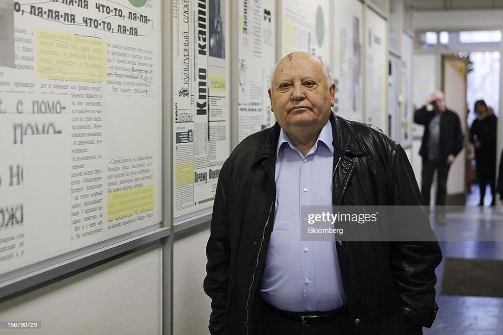 <a gi-track='captionPersonalityLinkClicked' href=/galleries/search?phrase=Mikhail+Gorbachev&family=editorial&specificpeople=93773 ng-click='$event.stopPropagation()'>Mikhail Gorbachev</a>, former Soviet leader, walks through the Novaya Gazeta newspaper office before attending a book signing event in Moscow, Russia, on Wednesday, Nov. 21, 2012. The book, titled 'Alone With Myself,' chronicles Gorbachev's life from his childhood to the 1991 demise of the Soviet Union. Photographer: Alexander Zemlianichenko Jr./Bloomberg via Getty Images