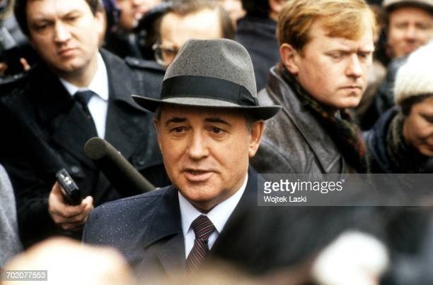 Mikhail Gorbachev giving an interview during the elections for the Congress of People's Deputies of the Soviet Union Moscow Soviet Union 26th March...