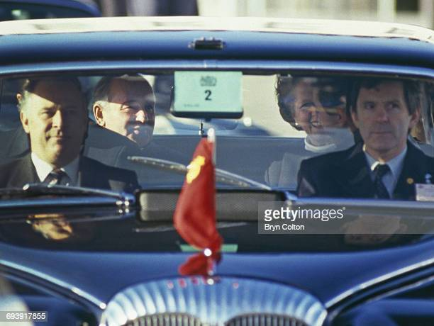 Mikhail Gorbachev Russian Politburo member and second in line at the Kremlin sits and talks with Margaret Thatcher UK Prime Minister as they travel...