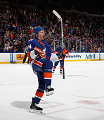 Mikhail Grabovski of the New York Islanders celebrates his shorthanded goal at 1552 of the second period against the Winnipeg Jets at the Nassau...