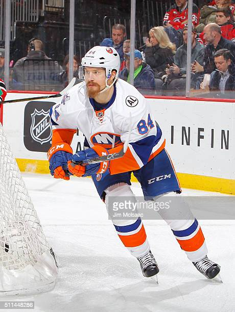 Mikhail Grabovski of the New York Islanders in action against the New Jersey Devils at the Prudential Center on February 19 2016 in Newark New Jersey...