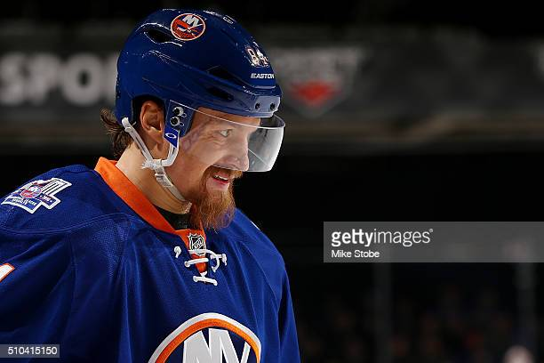 Mikhail Grabovski of the New York Islanders looks on during the game against the Detroit Red Wings at the Barclays Center on February 15 2016 in...