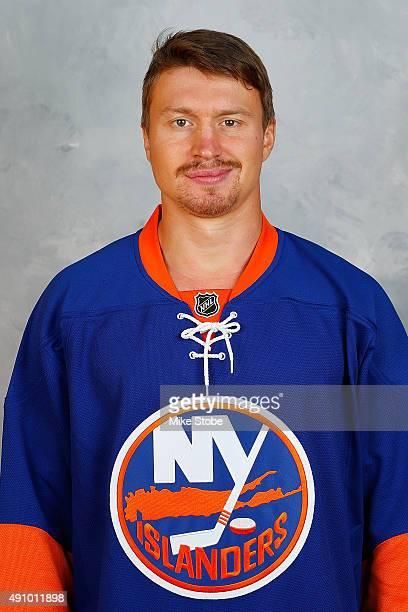 Mikhail Grabovski of the New York Islanders poses for his official headshot for the 20152016 season on September 17 2015 at the Nassau Coliseum in...