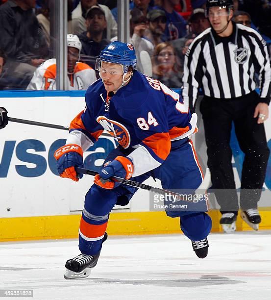 Mikhail Grabovski of the New York Islanders skates against the Philadelphia Flyers at the Nassau Veterans Memorial Coliseum on November 24 2014 in...