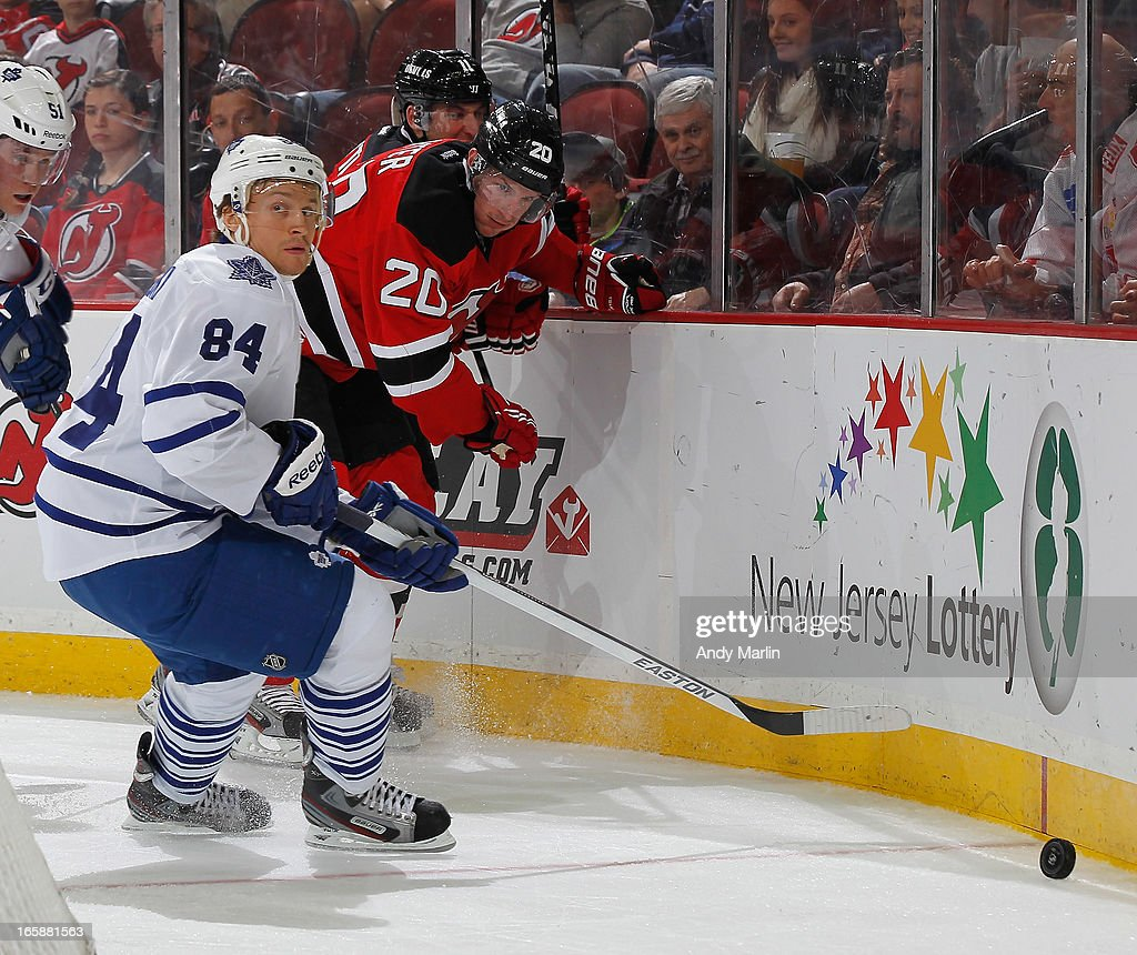 Mikhail Grabovski #84 of the Toronto Maple Leafs pursues a loose puck against the New Jersey Devils during the game at the Prudential Center on April 6, 2013 in Newark, New Jersey.