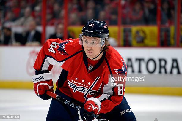 Mikhail Grabovski of the Washington Capitals waits for a faceoff during the game against the Ottawa Senators at Verizon Center on January 21 2014 in...