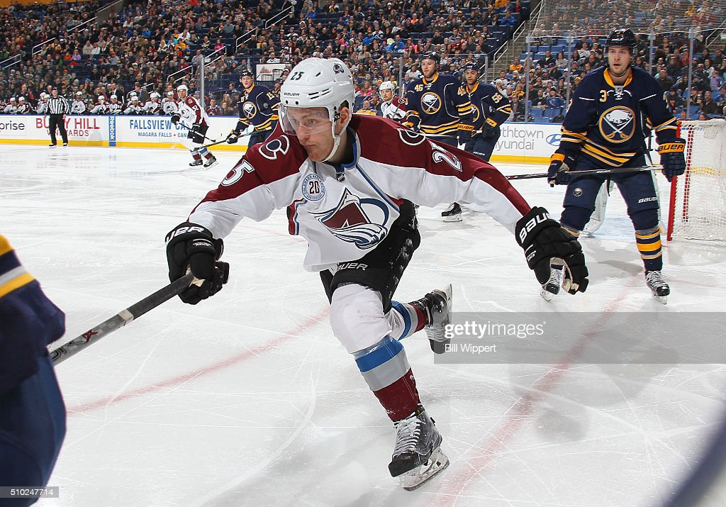 Mikhail Grigerenko #25 of the Colorado Avalanche reaches for the puck against the Buffalo Sabres during an NHL game on February 14, 2016 at the First Niagara Center in Buffalo, New York.
