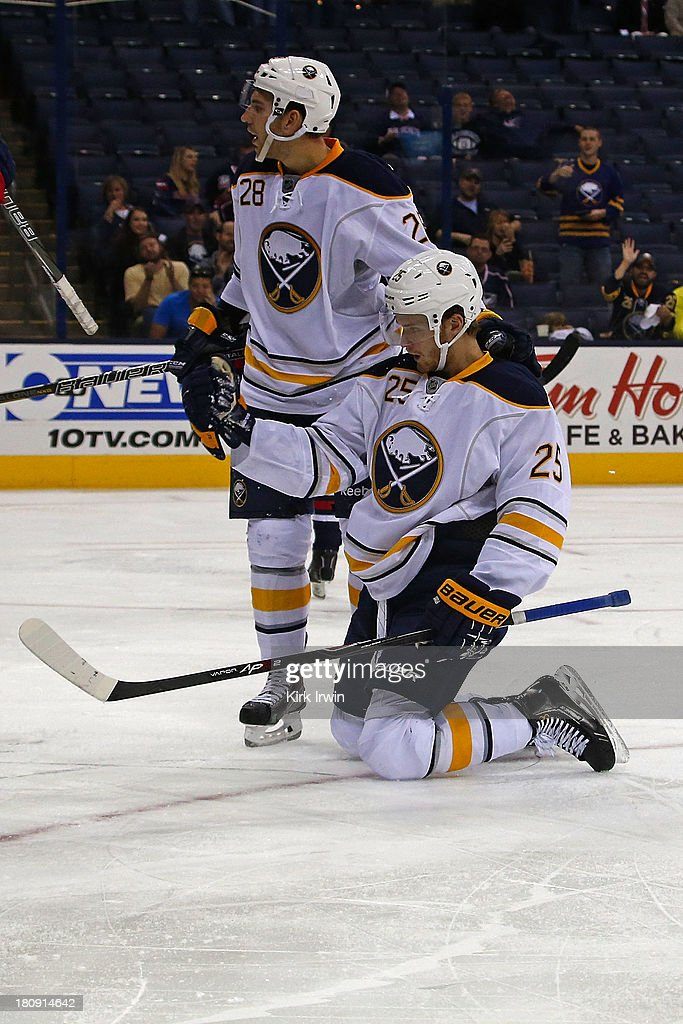 <a gi-track='captionPersonalityLinkClicked' href=/galleries/search?phrase=Mikhail+Grigorenko&family=editorial&specificpeople=8771251 ng-click='$event.stopPropagation()'>Mikhail Grigorenko</a> #25 of the Buffalo Sabres celebrates after scoring a goal during the third period against the Columbus Blue Jackets on September, 2013 at Nationwide Arena in Columbus, Ohio. Buffalo defeated Columbus 3-1.