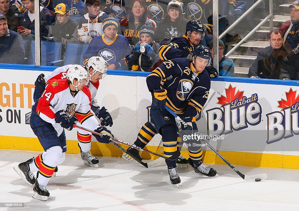 Mikhail Grigorenko #25 of the Buffalo Sabres controls the puck against the Florida Panthers at First Niagara Center on February 3, 2013 in Buffalo, New York.
