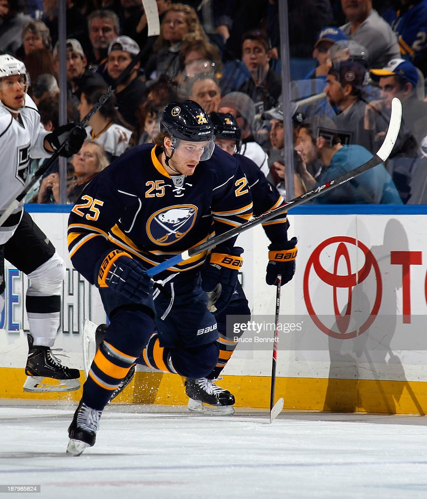 <a gi-track='captionPersonalityLinkClicked' href=/galleries/search?phrase=Mikhail+Grigorenko&family=editorial&specificpeople=8771251 ng-click='$event.stopPropagation()'>Mikhail Grigorenko</a> #25 of the Buffalo Sabres skates against the Los Angeles Kings at the First Niagara Center on November 12, 2013 in Buffalo, New York.