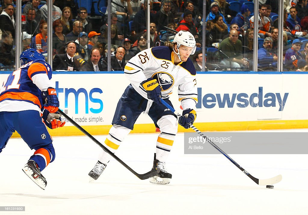 Mikhail Grigorenko #25 of the Buffalo Sabres skates against the New York Islanders during their game at Nassau Veterans Memorial Coliseum on February 9, 2013 in Uniondale, New York.
