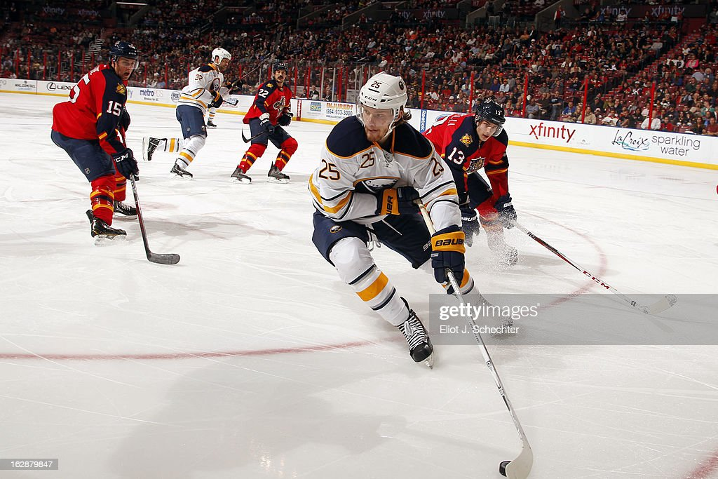 Mikhail Grigorenko #25 of the Buffalo Sabres skates with the puck against Mike Santorelli #13 of the Florida Panthers at the BB&T Center on February 28, 2013 in Sunrise, Florida.