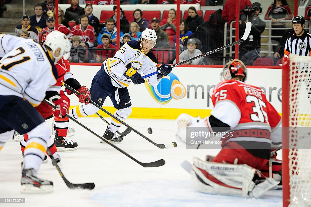 <a gi-track='captionPersonalityLinkClicked' href=/galleries/search?phrase=Mikhail+Grigorenko&family=editorial&specificpeople=8771251 ng-click='$event.stopPropagation()'>Mikhail Grigorenko</a> #25 of the Buffalo Sabres takes a shot against goaltender Justin Peters #35 of the Carolina Hurricanes during play at PNC Arena on March 5, 2013 in Raleigh, North Carolina.