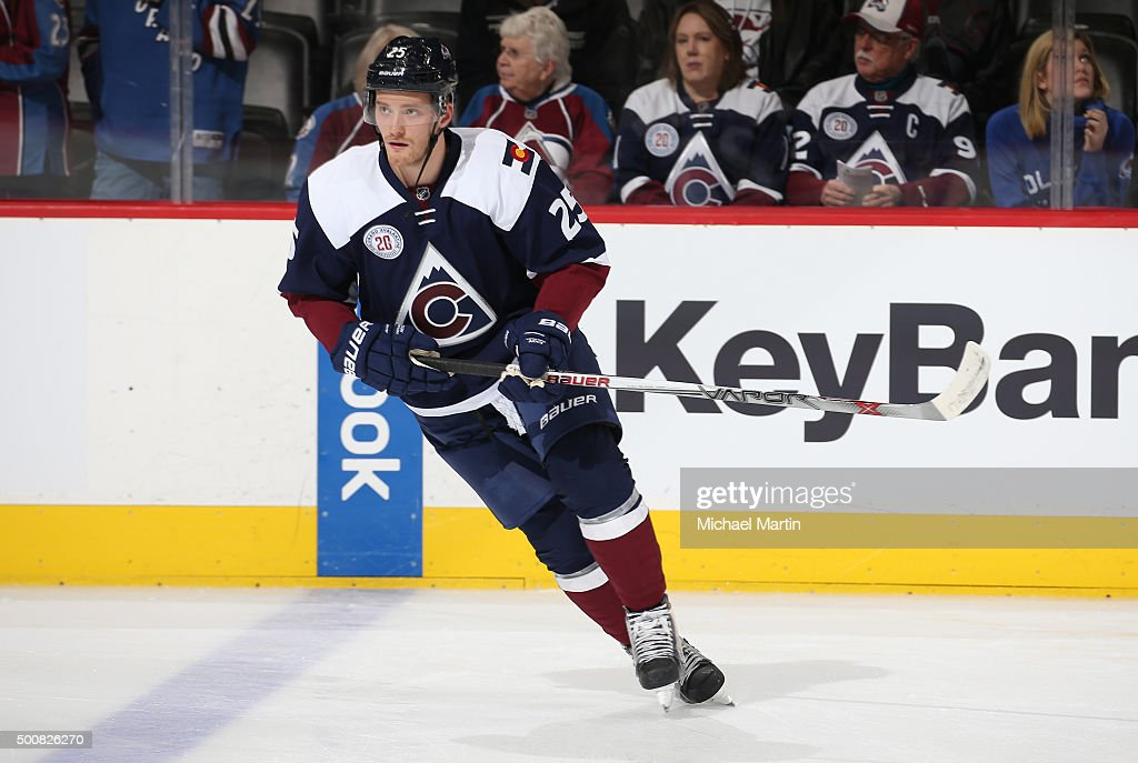 <a gi-track='captionPersonalityLinkClicked' href=/galleries/search?phrase=Mikhail+Grigorenko&family=editorial&specificpeople=8771251 ng-click='$event.stopPropagation()'>Mikhail Grigorenko</a> #25 of the Colorado Avalanche skates prior to the game against the Pittsburgh Penguins at the Pepsi Center on December 9, 2015 in Denver, Colorado.