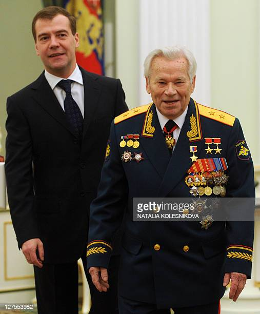 Mikhail Kalashnikov the Russian inventor of the globally popular AK47 assault rifle meets with Russian President Dmitry Medvedev during festivities...