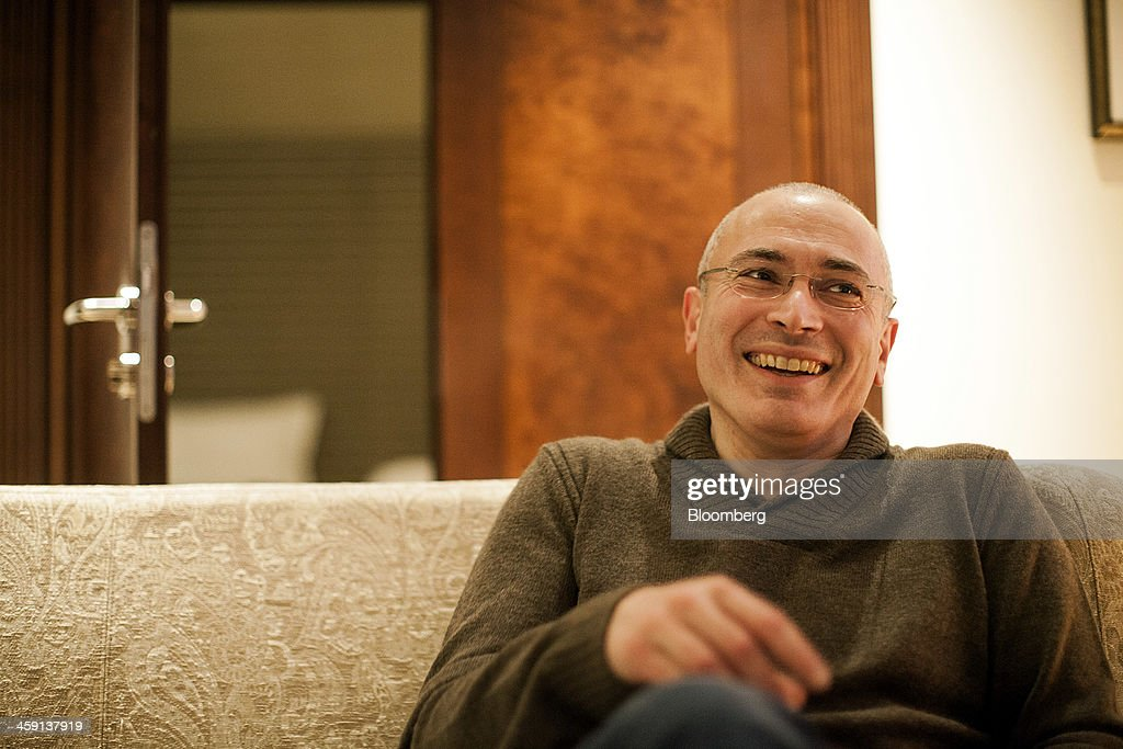 <a gi-track='captionPersonalityLinkClicked' href=/galleries/search?phrase=Mikhail+Khodorkovsky&family=editorial&specificpeople=224938 ng-click='$event.stopPropagation()'>Mikhail Khodorkovsky</a>, former oil tycoon, smiles during a Bloomberg interview at the Hotel Adlon in Berlin, Germany, on Monday, Dec. 23, 2013. Released after 10 years in Russian prisons, Khodorkovsky ruled out mounting a political challenge to President Vladimir Putin on his third day of freedom. Photographer: Bartek Sadowski/Bloomberg via Getty Images