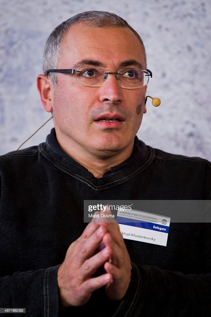 <a gi-track='captionPersonalityLinkClicked' href=/galleries/search?phrase=Mikhail+Khodorkovsky&family=editorial&specificpeople=224938 ng-click='$event.stopPropagation()'>Mikhail Khodorkovsky</a>, the former owner of one of Russia's largest oil companies, attends a panel discussion during the Forum 2000 Conference on October 13, 2014 in Prague, Czech Republic. The annual forum was launched by the late Czech President Vaclav Havel and American Holocaust survivor Elie Wiesel in 1997.