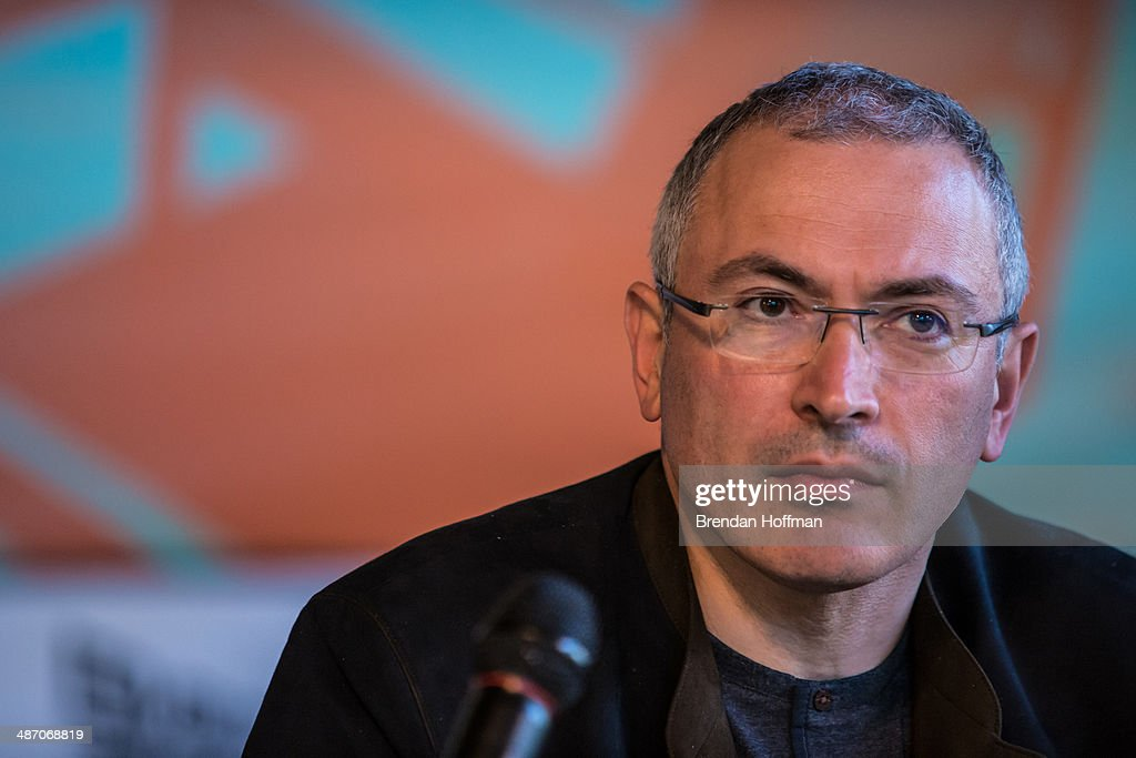 <a gi-track='captionPersonalityLinkClicked' href=/galleries/search?phrase=Mikhail+Khodorkovsky&family=editorial&specificpeople=224938 ng-click='$event.stopPropagation()'>Mikhail Khodorkovsky</a>, the former owner of one of Russia's largest oil companies, holds a public meeting and press conference at Izolyatsia, a non-governmental arts foundation, on April 27, 2014 in Donetsk, Ukraine. Khodorkovsky was visiting Eastern Ukraine to meet with local businessmen and members of the public regarding the political crisis there.