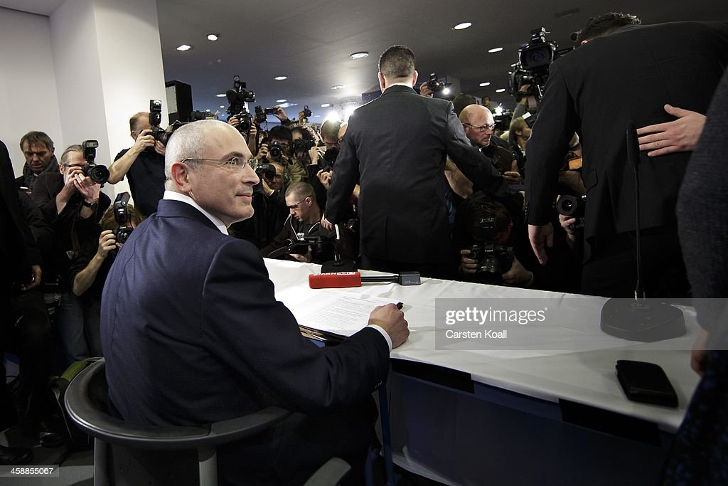 <a gi-track='captionPersonalityLinkClicked' href=/galleries/search?phrase=Mikhail+Khodorkovsky&family=editorial&specificpeople=224938 ng-click='$event.stopPropagation()'>Mikhail Khodorkovsky</a>, the former Yukos oil company chairman who was charged with embezzlement and tax evasion, speaks to the media at his first press conference since his release from a Russian prison two days before on December 22, 2013 in Berlin, Germany. Khodorkovsky flew to Berlin and was received by former German Foreign Minister Hans-Dietrich Genscher and has also been reunited with his family. Khodorkovsky spent 10 years in prison until his unexpected pardon by Russian President Vladimir Putin.