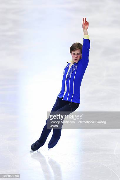 Mikhail Kolyada of Russia competes in the Men's Short Program during day 3 of the European Figure Skating Championships at Ostravar Arena on January...