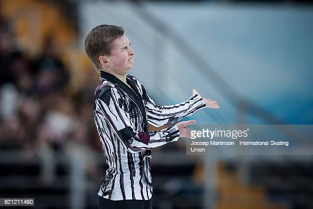 Mikhail Kolyada of Russia reacts after competing in Men's Free Skating on day two of the Rostelecom Cup ISU Grand Prix of Figure Skating at Megasport...