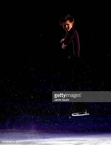 Mikhail Kolyada of Team Europe performs during an exhibition on day 3 of the 2016 KOSE Team Challenge Cup at Spokane Arena on April 24 2016 in...
