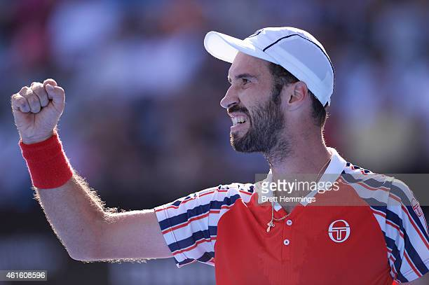 Mikhail Kukushkin of Kazakhstan celebrates after winning a point in his semi final match against Leonardo Mayer of Argentina during day six of the...